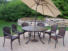 Tuscany Stone Art Dining Set with Umbrella
