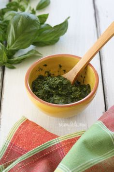 Skinny Basil Pesto--I was skeptical. I love pesto and make it all the time. I really didn't miss the extra oil or the pine nuts. Not only is healthier, but cheaper. Pine nuts are expensive! Skinny Recipes, Ww Recipes, Cooking Recipes, Healthy Recipes, Skinnytaste Recipes, Skinny Meals, Dinner Recipes, Popular Recipes, Potato Recipes