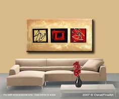 Original abstract art paintings by Osnat Tzadok 48x24""