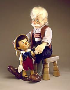 "RJW Dolls - Geppetto and Pinocchio II Traditional 18"" and 9"" molded felt and hand carved Alpine maple, fully jointed. Date of Release: 1994 Ltd. Ed. 250."