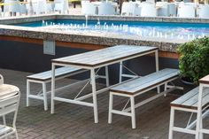 This Outdoor Furniture family is built to last Commercial Furniture, Outdoor Furniture Sets, Outdoor Decor, Bench Seat, Hospitality, Building, Table, Home Decor, Decoration Home
