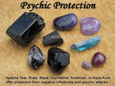 Crystals for Psychic Protection — Apache Tear, Ruby, Black Tourmaline, Amethyst, or Aqua Aura offer protection from negative influences and psychic attacks. Carry your favorite protection crystal(s) with you or wear them as a pendant at the Higher Heart chakra.