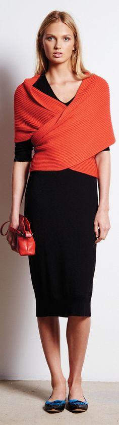 Tomas Maier Resort 16: black dress, orange knitted wrap top