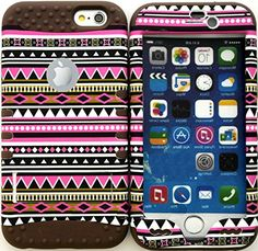 """myLife Stylish Design and Layered Protection Case for iPhone 6 Plus (5.5"""" Inch) by Apple {Wooden Brown and Pink """"Festive Aztec Tribal Finish"""" Three Piece SECURE-Fit Rubberized Gel} myLife Brand Products http://www.amazon.com/dp/B00PX7O7CC/ref=cm_sw_r_pi_dp_zX2Cub1DMHR3P"""