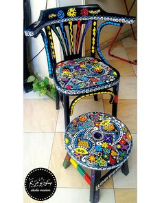 Funky home accessories - Art People Gallery Hand Painted Chairs, Whimsical Painted Furniture, Painted Stools, Hand Painted Furniture, Funky Furniture, Colorful Furniture, Art Furniture, Repurposed Furniture, Furniture Makeover