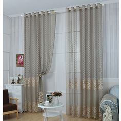 Embroidered Tulle Window Curtain Drapes for Living Room Kitchen Curtains Bedroom Luxury 4 colors Sheer Voile Curain Window Cover