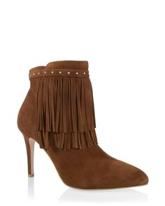 """Suede fringe ankle boots will put some swing in your steps while channeling seventies style.    Suede fringe ankle boots; zip entry    Breathable lining; memory foam footbed.   Approx. 3.75"""" heel   Genuine leather and manmade materials; synthetic sole   Imported."""