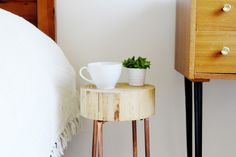 DIY Copper and Wood Slice side table