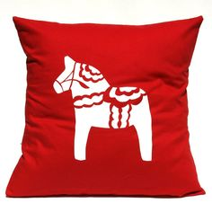 SWEDEN Pillow Dala Horse by linneaswedishdesign on Etsy