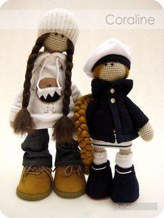 Авторские куклы Coraline, вязанные крючком