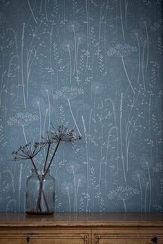 Paper Meadow wallpaper in teal. Hannah Nunn.