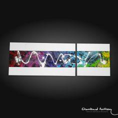 Tableau abstrait : Ensemble de couleurs, techniques mixtes.  Technique : Acrylique sur toile. Dimensions : 90 cm x 30 cm (en deux toiles : 60 x 30 et 30 x 30)