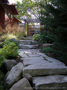 Privacy Pergola and Paver Walk ~ Chilton Natural Stone Outcropping Steps & Walk, via Flickr.