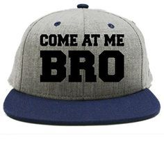Come at me Bro Cool Flat Bill Snapback Hat Cap navy