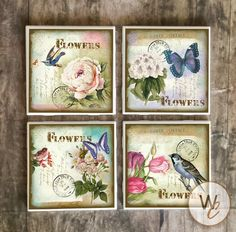 Shabby Chic Coasters,  Vintage Postcards With Flowers Birds Butterflies, Handmade Ceramic Tile Coast