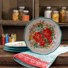 """Free Shipping on orders over $35. Buy The Pioneer Woman Vintage Floral 8.5"""" Salad Plate Set, Set of 4 at Walmart.com"""