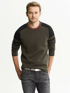 Banana Republic Performance Milano Colorblock Crew  http://bananarepublic.gap.com/browse/product.do?cid=6854&vid=1&pid=326063022  Not sure how I'm feeling about Banana's camo-style pieces in their Fall collection, but the solid colors in this shirt still exude this season's military theme / colors and looks great with chinos or jeans.