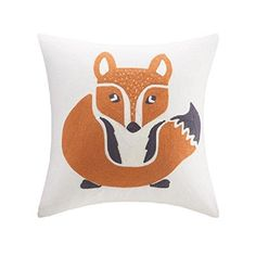 16x16 Orange Fox Throw Pillow Cute Foxy Sofa Pillow Colorful Jungle Animal Theme Cushion Zoo Animal Absract Bright Colors Square Shape Polyester Kids