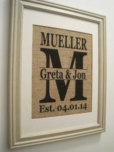 Burlap Monogram Burlap Wedding Burlap Art Burlap by SunBeamSigns, $21.00