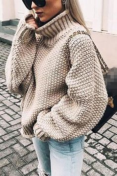 Plus size knitted sweater women Casual loose turtleneck sweater pull femme 2019 Winter warm sweaters Knitting pullover tops, Khaki / XXXL Plus Size Pullover, Handgestrickte Pullover, Pullover Sweaters, Knitting Sweaters, Tunic Sweater, Warm Sweaters, Casual Sweaters, Sweaters For Women, Chunky Sweaters