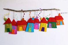 Casa de Retalhos: Casinhas de feltro {Felt ornaments}