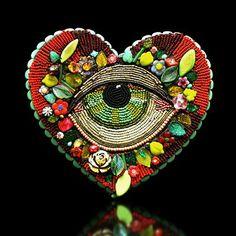 """Large Eye Heart"" by Betsy Youngquist @Karen Jacot Jacot Jacot Jacot Hanson Fine Art Glass Pismo Fine Art Glass"