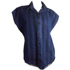 New Wave Striped Denim Blue Sleeveless Tunic Blouse circa 1980s