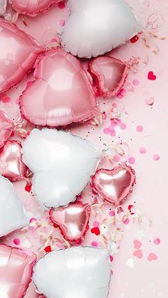 Flower Phone Wallpaper, Pink Wallpaper Iphone, Heart Wallpaper, Love Wallpaper, Wallpaper Backgrounds, Bedroom Wallpaper, Wallpaper Ideas, Balloon Background, Party Background