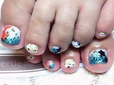 Nail Art - Beetle Nail : 八幡|フットネイル  #ネイル #ビートル近江八幡 #ビートルネイル #ネイル近江八幡 #フットネイル #金魚ネイル #和テイストネイル