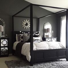 Charming Love The Dark Wall Color With Mirrored Furniture