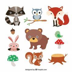 Animales del bosque lindos