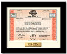 Cool gift-- a genuine stock certificate, 1 share of Harley Davidson, framed. http://www.giveashare.com/stock.asp?buy=Harley-Davidson-stock_source=facebook_medium=ppc_campaign=HarleyNewsFeedAd