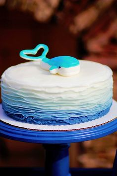 Love this ombre cake! Nautical themed birthday Party for Pottery Barn via Kara's Party Ideas KarasPartyIdeas.com
