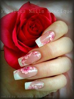 Nail art from the NAILS Magazine Nail Art Gallery, hand-painted, Classy Nails, Fancy Nails, Cute Nails, Pretty Nails, Beautiful Nail Designs, Beautiful Nail Art, Gorgeous Nails, Image Deco, Floral Nail Art