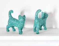 Colorful Glitter Kitties YOU PICK Colors Set of two by wishdaisy