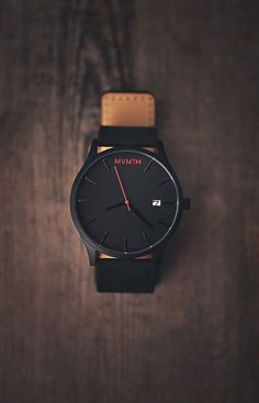 MVMT × Leather Strap minimalistic watch in black