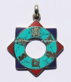 Tibetan Carved Mandala Pendant with Om Mani Padme Hung Mantra, Brass, Turquoise & Copal Coral Inlays - WM1101
