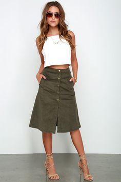 Fairly Certain Olive Corduroy Midi Skirt at Lulus.com!