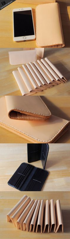 Handmade vintage purse leather wallet long phone wallet clutch wallet beige