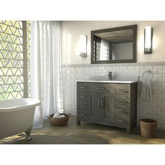 The Kent 42 inch French Gray Finish Bathroom Vanity is maximum storage defined, streamlining and un-cluttering your bathroom experience. The timeless shaker doors and rectangular sink give a semblance of transitionalism while multiple handles form a fell visage of muscular intensity.