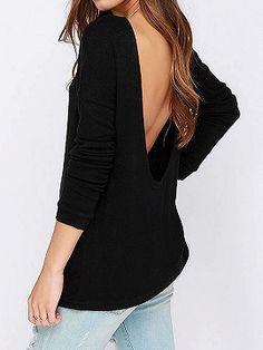 Shop Black Backless Long Sleeve T-shirt from choies.com .Free shipping Worldwide.$15.99