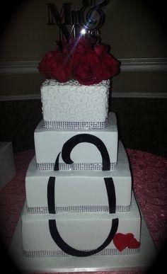 Calumet Bakery Fondant Monogram on Wedding Cake