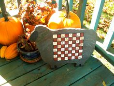 Primitive Sheep Checkerboard Cutting Board Silhouette Wall Hanging