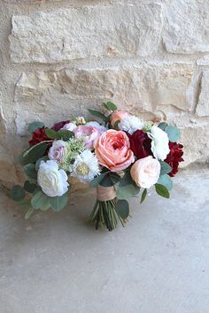 Large Silk Flower Wedding Bouquet Burgundy Coral Pink and