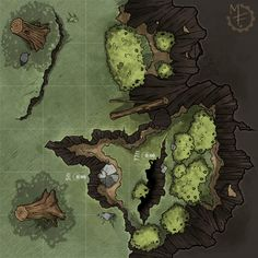 ArtStation - Dungeon Maps: Cave Entrance 01, Michael Fitzhywel