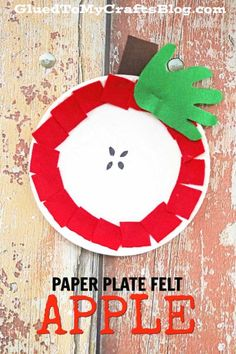Paper Plate Felt Apple September Speech Therapy Ideas – Paper Plate Felt Apple – Fall Kid Craft – Back To School DIY. Cute idea for back to school or fall speech therapy! Kids Crafts, Daycare Crafts, Fall Crafts For Kids, Classroom Crafts, Toddler Crafts, School Classroom, Back To School Crafts For Kids, Back To School Art, Apple Activities
