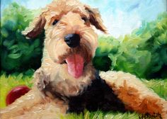 airedale terrier dog puppy art oil painting by mary sparrow smith from hanging the moon, print, home decor, gift ideas