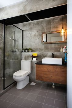 Cement screed wall for bathroom | AN INDUSTRIAL AND ECLECTIC LOOK FOR A 5-ROOM HDB FLAT BY GREEN AND LUSH | Singapore HDB