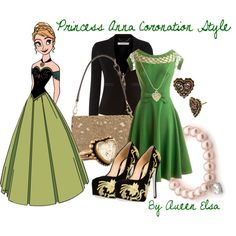 This Is Princess Anna Coronation Style, She Wears A Dark Green Short Dress With Black Jacket And Black With Golden Design Shoes. For Accessories I Did Light Bro. Princess Anna, Disney Princess, Frozen Fashion, Anna Disney, Frozen Sisters, Disney Bounding, Queen Elsa, Fashion Gallery, Disney Outfits