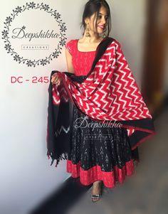 DC - 245 For queries kindly inbox or  Email - deepshikhacreations@gmail.com Whatsapp/Call - 9059683293 22 May 2016 Salwar Neck Designs, Dress Neck Designs, Fancy Blouse Designs, Kurta Designs Women, Kalamkari Dresses, Ikkat Dresses, Designer Anarkali Dresses, Simple Kurti Designs, Long Dress Design